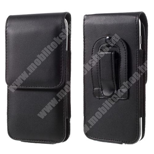 BLACKBERRY DTEK50 UNIVERZÁLIS álló bőrtok - övre fűzhető, övcsipesz, rejtett mágneses záródás, 151 x 77 x 10mm - FEKETE