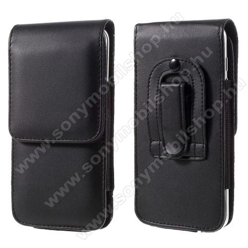 Sony Xperia XZ Dual (F8332)UNIVERZÁLIS álló bőrtok - övre fűzhető, övcsipesz, rejtett mágneses záródás, 151 x 77 x 10mm - FEKETE