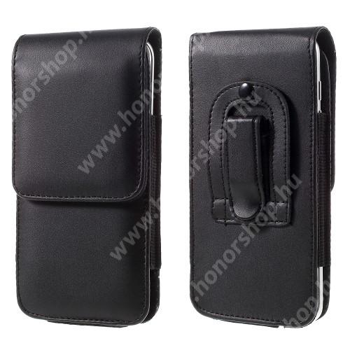 HUAWEI Honor 8 Premium UNIVERZÁLIS álló bőrtok - övre fűzhető, övcsipesz, rejtett mágneses záródás, 151 x 77 x 10mm - FEKETE