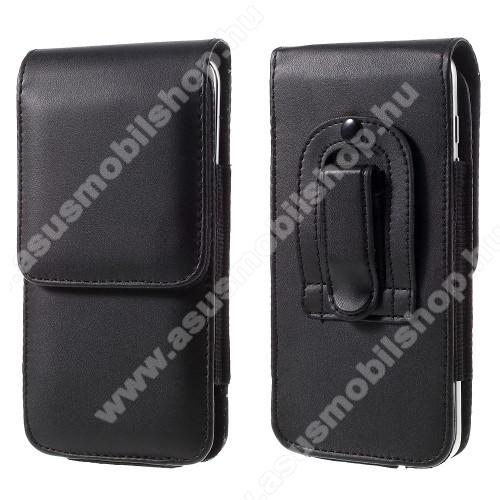 ASUS ZenFone Go (ZB551KL)UNIVERZÁLIS álló bőrtok - övre fűzhető, övcsipesz, rejtett mágneses záródás, 151 x 77 x 10mm - FEKETE