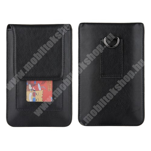 Blackphone UNIVERZÁLIS álló bőrtok - övre / karra rögzíthető, nyakba akasztható, PU bőr, mágnes patent záródás, bankkártyatartó zseb, belső méret: 165 x 85 x 15mm, külső méret: 180 x 115 x 20mm - FEKETE