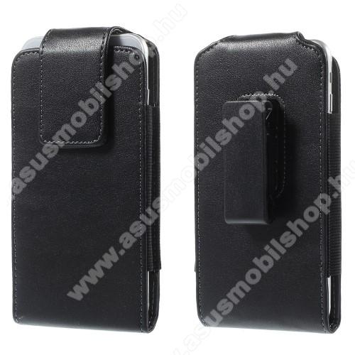 ASUS ROG Phone II (ZS660KL)UNIVERZÁLIS álló bőrtok - rejtett mágneses záródás, elforgatható övcsipesz, 160 x 84 mm - FEKETE