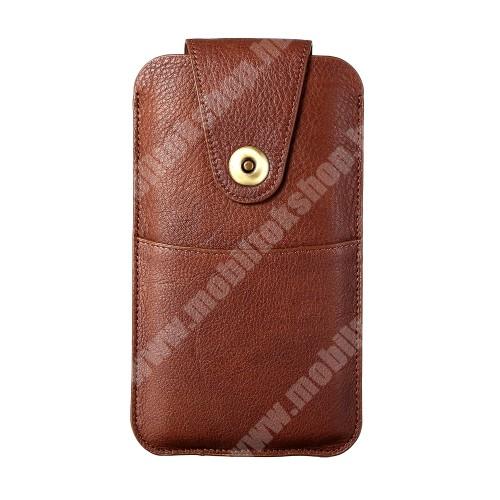 HomTom HT70 UNIVERZÁLIS álló bőrtok - valódi bőr, patent záródás, övre fűzhető, töltőnyílás, bankkártyatartó zseb, 170 x 90mm - BARNA