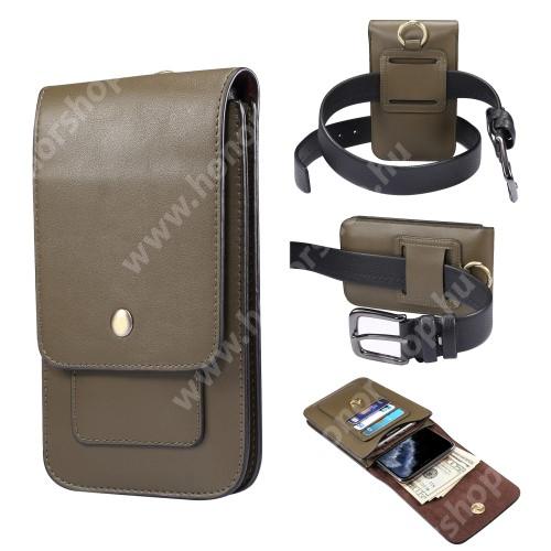 UNIVERZÁLIS álló / fekvő tok - állítva vagy fektetve övre fűzhető, bankkártyatartó zseb, mágnespatent záródás, EXTRA! két fakkos - 175 x 95 x 25 mm - ZÖLD