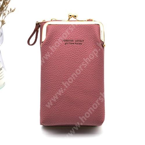 UNIVERZÁLIS álló / pénztárca tok - nyakpánt, bankkártyatartó zsebekkel, cipzár, 180 x 110 x 50 mm - LILA
