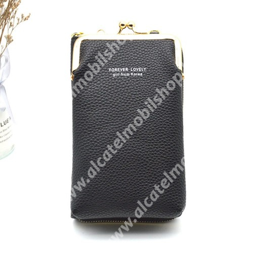 UNIVERZÁLIS álló / pénztárca tok - nyakpánt, bankkártyatartó zsebekkel, cipzár, 180 x 110 x 50 mm - FEKETE