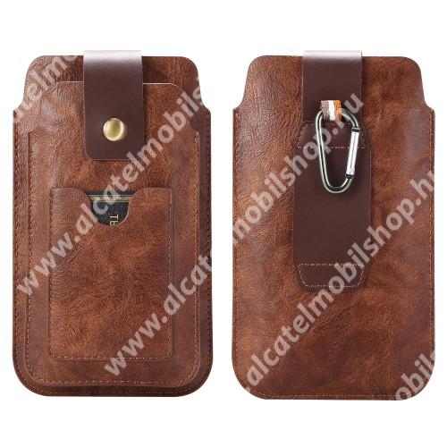 UNIVERZÁLIS álló tok - BARNA - övre fűzhető, karabíner, mágnespatent, két fakkos, bankkártya tartóval - 1 x max 155 x 85 x 9mm és 1 x max 175 x 90 x 13mm méretű készülékekhez