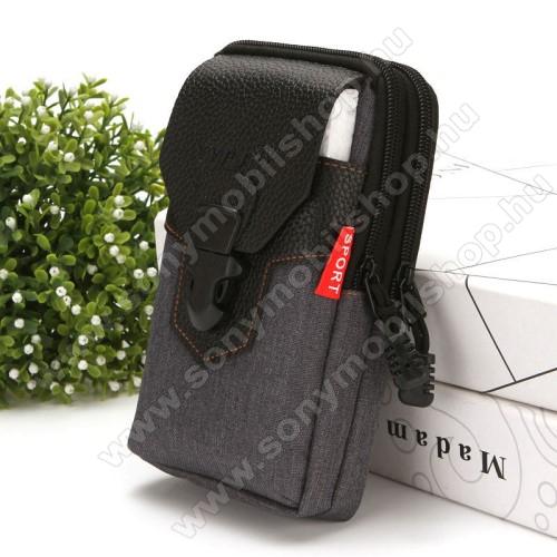 Sony Xperia XA1UNIVERZÁLIS álló tok - cipzár, csatos, övre fűzhető, több fakkos - FEKETE - első zseb belső mérete: 170 x 90mm, hátsó zsebek belső mérete: 185 x 100mm