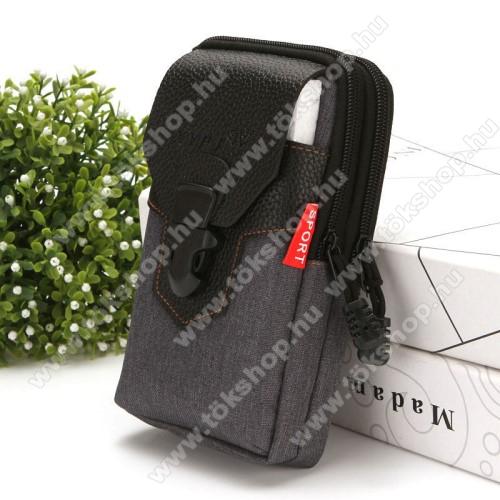 Allview V2 Viper XeUNIVERZÁLIS álló tok - cipzár, csatos, övre fűzhető, több fakkos - FEKETE - első zseb belső mérete: 170 x 90mm, hátsó zsebek belső mérete: 185 x 100mm