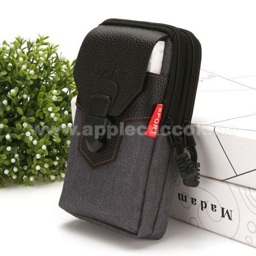 APPLE iPhone XUNIVERZÁLIS álló tok - cipzár, csatos, övre fűzhető, több fakkos - FEKETE - első zseb belső mérete: 170 x 90mm, hátsó zsebek belső mérete: 185 x 100mm