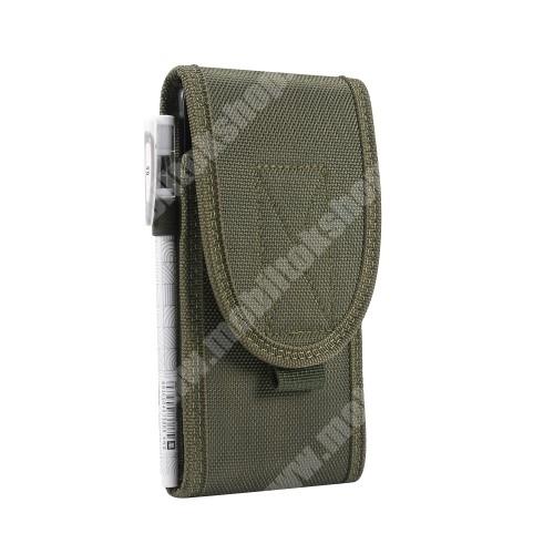 Blackview R6 Lite UNIVERZÁLIS álló tok - cseppálló szövet, övre fűzhető, tépőzáras záródás, karabiner, ceruzatartó - 155 x 85 x 20mm - SÖTÉTZÖLD