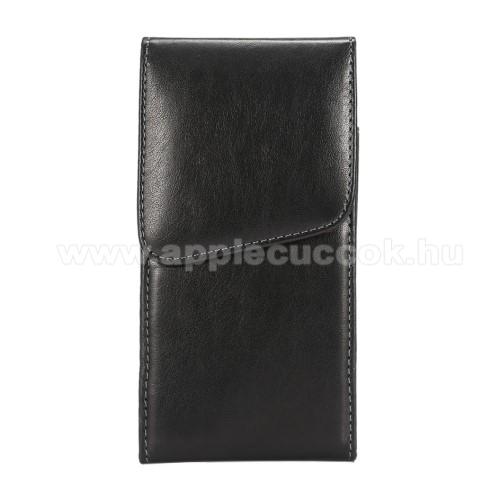 APPLE iPhone 11 Pro MaxUNIVERZÁLIS álló tok - elforgatható övcsipesz, mágnes záródás - 160 x 80 x 10mm - FEKETE
