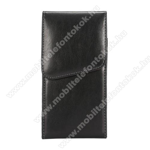 APPLE iPhone XS MaxUNIVERZÁLIS álló tok - elforgatható övcsipesz, mágnes záródás - 160 x 80 x 10mm - FEKETE