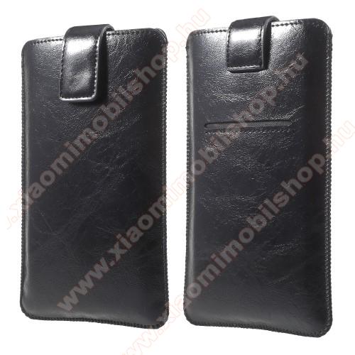 Xiaomi Mi 10 Pro 5GUNIVERZÁLIS álló tok - FEKETE - kihúzópántos, tépőzár, bankkártya tartó - 165 x 95 mm