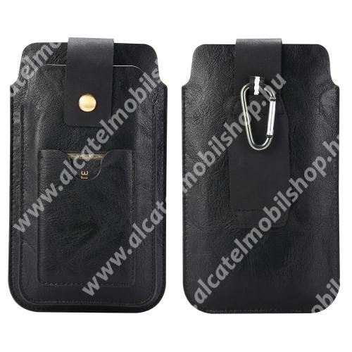 UNIVERZÁLIS álló tok - FEKETE - övre fűzhető, karabíner, mágnespatent, két fakkos, bankkártya tartóval - 1 x max 155 x 85 x 9mm és 1 x max 175 x 90 x 13mm méretű készülékekhez