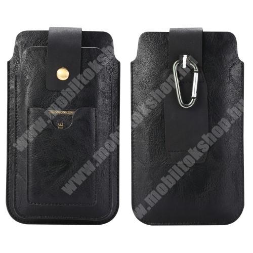 LG G4c (H525N) UNIVERZÁLIS álló tok - FEKETE - övre fűzhető, karabíner, mágnespatent, két fakkos, bankkártya tartóval - 1 x max 140 x 75 x 9 mm és 1 x max 170 x 85 x 13 mmméretű készülékekhez