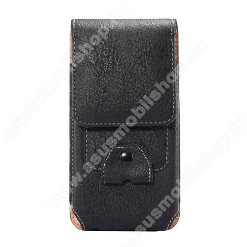 UNIVERZÁLIS álló tok - övre fűzhető / karabiner, bankkártya tartó, tépőzáras záródás - 170 x 80 x 10mm - FEKETE