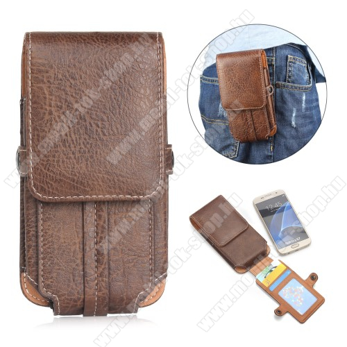 UNIVERZÁLIS álló tok - övre fűzhető / karabiner, bankkártya tartó, mágneses patent záródás - 159 x 78 x 10mm - BARNA