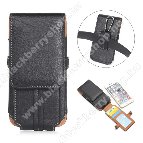 UNIVERZÁLIS álló tok - övre fűzhető / karabiner, bankkártya tartó, mágneses patent záródás - 159 x 78 x 10mm - FEKETE