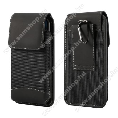 SAMSUNG Galaxy A52 4G (SM-A525F)UNIVERZÁLIS álló tok - övre fűzhető / karabiner, gumis, tépőzáras záródás - max 160 x 80 x 10mm-es készülékekhez - FEKETE