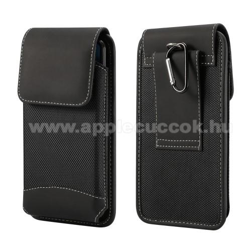 APPLE iPhone 11 Pro MaxUNIVERZÁLIS álló tok - övre fűzhető / karabiner, gumis, tépőzáras záródás - 5,7-6,3