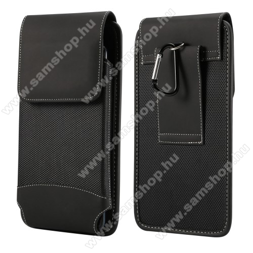 SAMSUNG Galaxy A71 5G (SM-A716F)UNIVERZÁLIS álló tok - övre fűzhető / karabiner, gumis, tépőzáras záródás - 175 mm x 95 mm - FEKETE