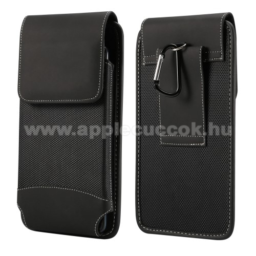 APPLE iPhone 7 PlusUNIVERZÁLIS álló tok - övre fűzhető / karabiner, gumis, tépőzáras záródás - 5,7-6,5