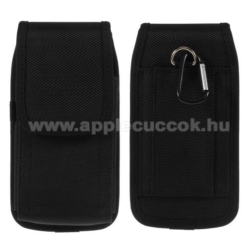 APPLE iPhone 11 ProUNIVERZÁLIS álló tok - övre fűzhető / karabiner, tépőzáras záródás - FEKETE - SAMSUNG Galaxy Note9 méret