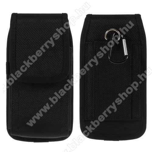 BLACKBERRY DTEK50UNIVERZÁLIS álló tok - övre fűzhető / karabiner, tépőzáras záródás - FEKETE - SAMSUNG Galaxy Note9 méret