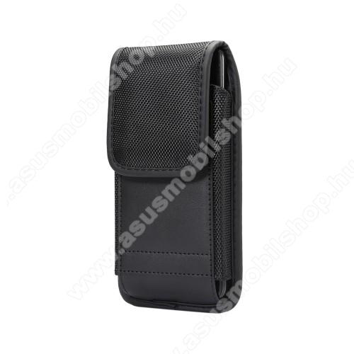 ASUS Zenfone Max Plus (M2) (ZB634KL)UNIVERZÁLIS álló tok - övre fűzhető / karabiner, gumis, tépőzáras záródás - 167 x 85 x 10 mm - FEKETE