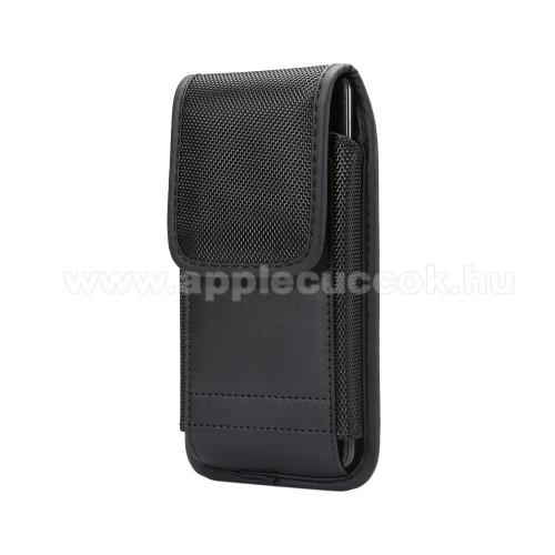 APPLE iPhone 11 Pro MaxUNIVERZÁLIS álló tok - övre fűzhető / karabiner, gumis, tépőzáras záródás - 167 x 85 x 10 mm - FEKETE
