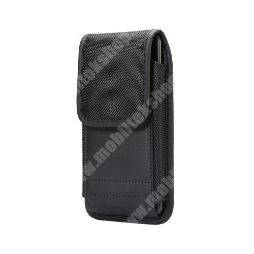 Blackview R6 Lite UNIVERZÁLIS álló tok - övre fűzhető / karabiner, gumis, tépőzáras záródás - 153 x 77 x 10 mm - FEKETE