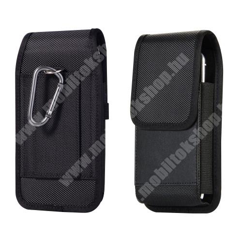 LG G4c (H525N) UNIVERZÁLIS álló tok - övre fűzhető, karabiner, tépőzáras záródás, bankkártya tartó zseb - max 150 x 80 x 15mm méretű  készülékekhez - FEKETE