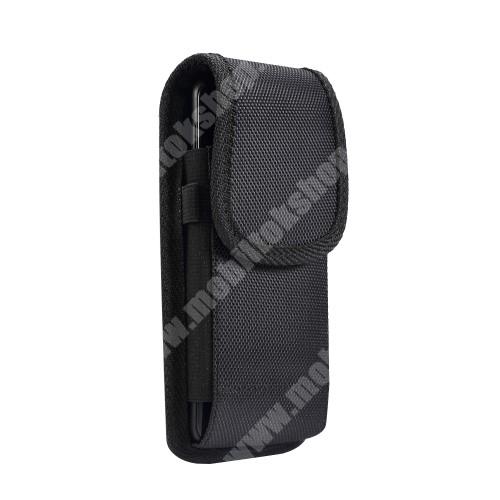 """Blackview R6 Lite UNIVERZÁLIS álló tok - övre fűzhető / övcsipesz, tépőzáras záródás, gumis - 5,5""""-os készülékekhez - FEKETE - 160 x 78 x 18mm"""