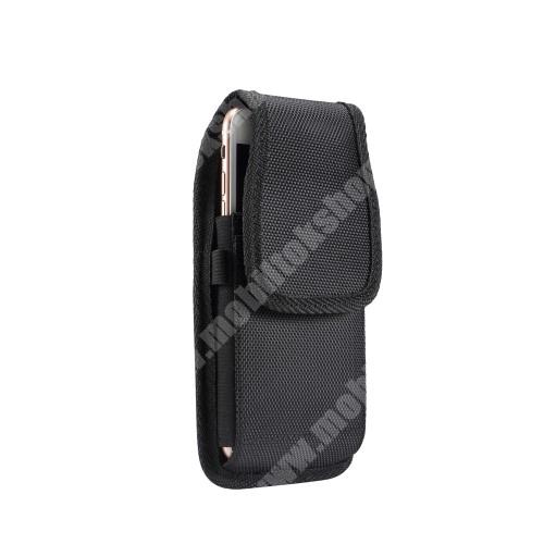 """Razer Phone UNIVERZÁLIS álló tok - övre fűzhető / övcsipesz, tépőzáras záródás - 5,7-6,3""""-os készülékekhez - FEKETE - 166 x 83 x 18mm"""