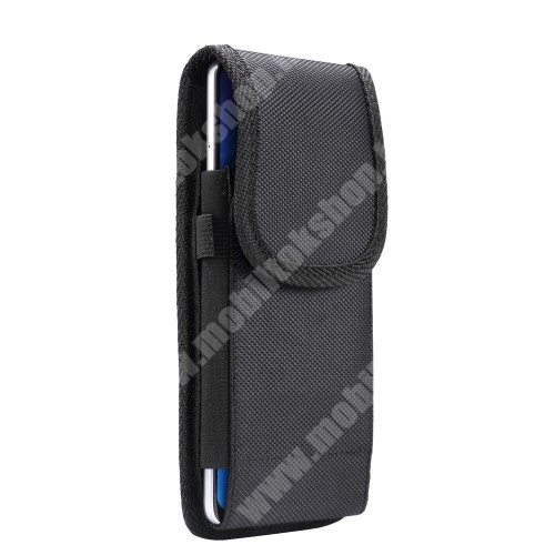 """SAMSUNG SM-G910S Galaxy Round UNIVERZÁLIS álló tok - övre fűzhető / övcsipesz, tépőzáras záródás - 6,4-6,9""""-os készülékekhez - FEKETE - 175 x 90 x 20mm"""