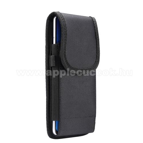 APPLE iPhone 8 PlusUNIVERZÁLIS álló tok - övre fűzhető / övcsipesz, tépőzáras záródás - 6,4-6,9