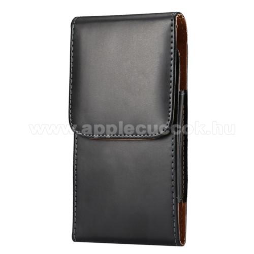 APPLE iPhone 6s PlusUNIVERZÁLIS álló tok - övre fűzhető / övcsipesz, mágnes záródás - 172 x 90 x 15mm - FEKETE