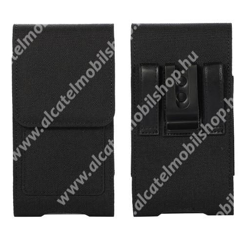 UNIVERZÁLIS álló tok - övre fűzhető / övcsipesz, mágneses záródás, bankkártyatartó zseb, gumis, szövet - belső méret: 177 x 92mm - FEKETE