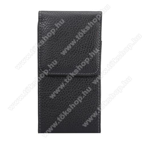 Elephone S7UNIVERZÁLIS álló tok - övre fűzhető, övcsipesz, mágnes záródás - 152 x 78 x 20mm - FEKETE