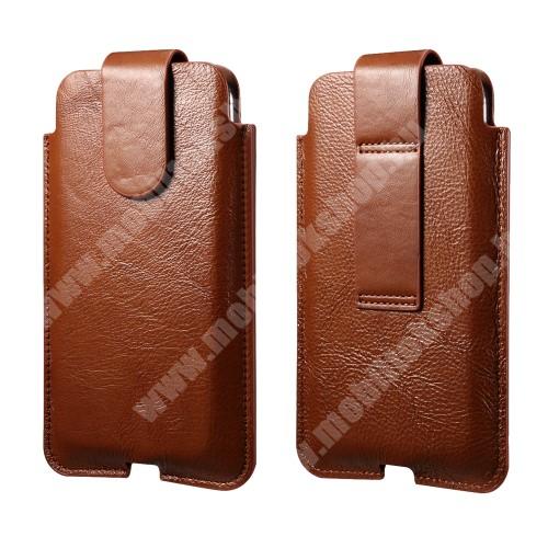 HomTom HT70 UNIVERZÁLIS álló tok - valódi bőr, övre fűzhető, mágnes záródás, töltőnyílás - külső méret: 187 x 108mm, belső méret: 180 x 100 x 15mm - BARNA