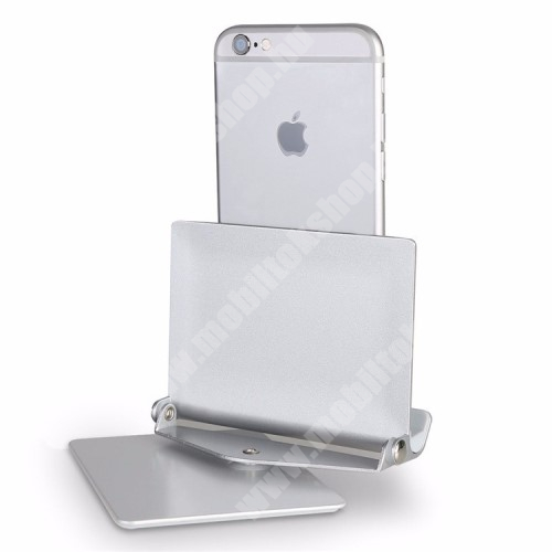 """ALCATEL A30 UNIVERZÁLIS alumínium asztali tartó / állvány - 360°-ban elforgatható, 10 különböző látószög, 4-10""""-os készülékekkel használható - EZÜST"""