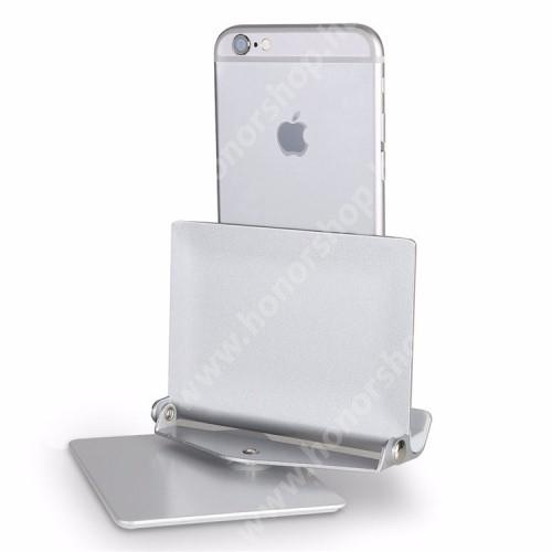 """HUAWEI Honor 9 UNIVERZÁLIS alumínium asztali tartó / állvány - 360°-ban elforgatható, 10 különböző látószög, 4-10""""-os készülékekkel használható - EZÜST"""