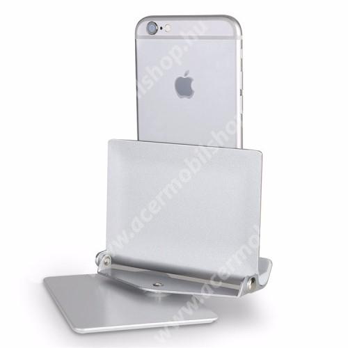 """ACER Iconia Tab A1-811 UNIVERZÁLIS alumínium asztali tartó / állvány - 360°-ban elforgatható, 10 különböző látószög, 4-10""""-os készülékekkel használható - EZÜST"""