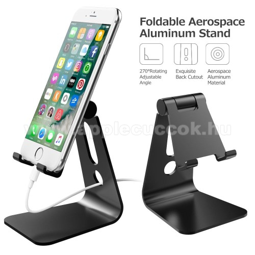 APPLE iPhone 8 PlusUNIVERZÁLIS alumínium asztali tartó / állvány - 270°-ban állítható, kábelvezető kivágás, 72 x 80 x 100 mm - FEKETE