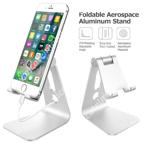 UNIVERZÁLIS alumínium asztali tartó / állvány - 270°-ban állítható, kábelvezető kivágás, 72 x 80 x 100 mm - EZÜST