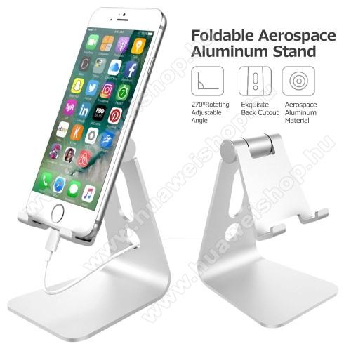 HUAWEI Honor Note 8UNIVERZÁLIS alumínium asztali tartó / állvány - 270°-ban állítható, kábelvezető kivágás, 72 x 80 x 100 mm - EZÜST