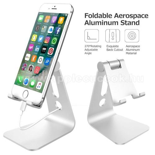 APPLE iPhone 11 ProUNIVERZÁLIS alumínium asztali tartó / állvány - 270°-ban állítható, kábelvezető kivágás, 72 x 80 x 100 mm - EZÜST