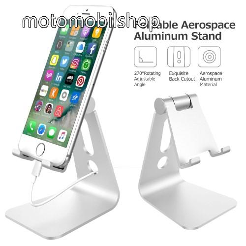 MOTOROLA Wilder (EX130) UNIVERZÁLIS alumínium asztali tartó / állvány - 270°-ban állítható, kábelvezető kivágás, 72 x 80 x 100 mm - EZÜST