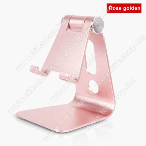 UNIVERZÁLIS alumínium asztali tartó / állvány - 270°-ban állítható, kábelvezető kivágás, 72 x 80 x 100 mm - ROSE GOLD